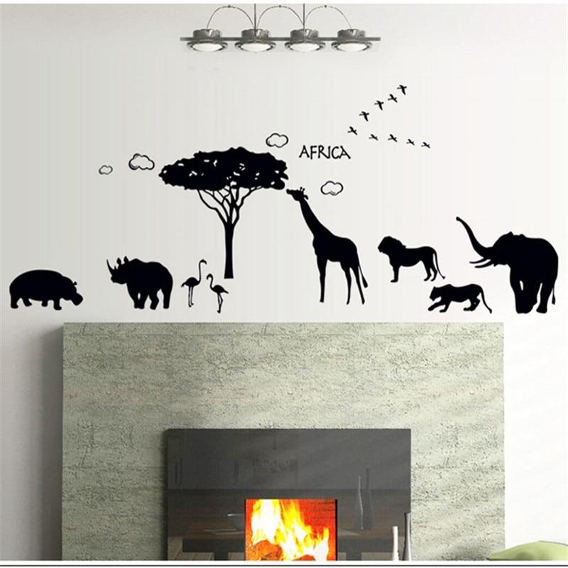 Pegatinas de silueta para la pared de animales africanos ÁRBOL NEGRO, pegatinas de vinilo autoadhesivas extraíbles de león, elefante, jirafa, rinoceronte, flamencos