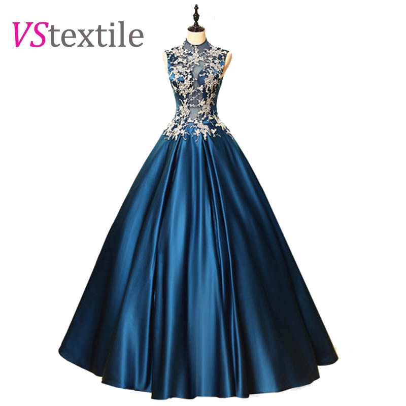 high collar ball gowns blue long prom dresses 2019 robe longue new style custom make free shipping