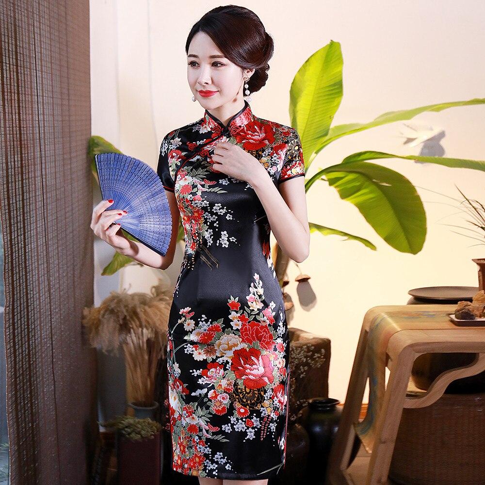 Vestido Qipao de satén elegante para mujer novedad de verano ajustado manga corta estilo chino tradicional cuello mandarín Cheongsam Vestidos 4XL