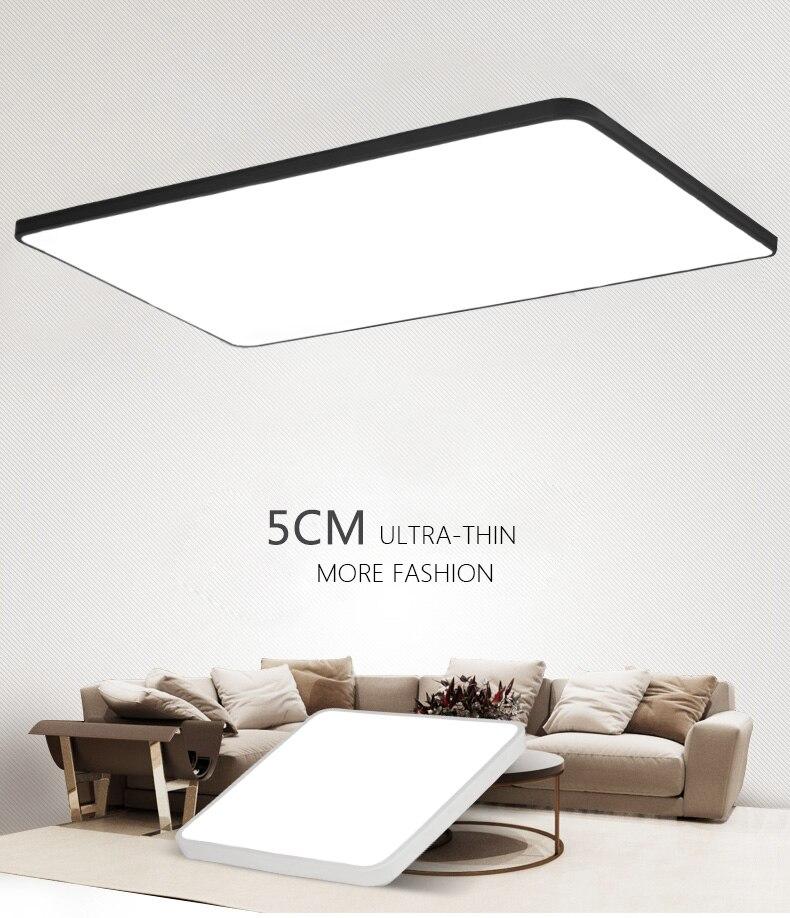 DX moderno Led luces de techo luminaria para sala de estar de estilo minimalista Dimmable lámpara ultrafina cuadrada cálida blanca Lustre