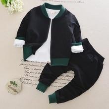 Vêtements de sport pour petits garçons et filles   Ensemble chemise + pantalon + manteau, 3 pièces, vêtements à rayures, à la mode, pour petits garçons et filles