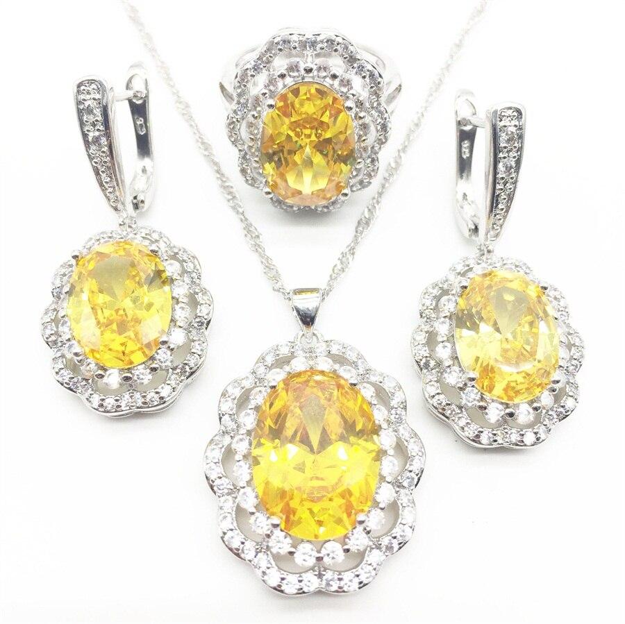 Alta calidad amarillo redondo Anstrian Crystal Ladies Jewelry Sterling Silver 925 juegos de joyería a la moda regalos de navidad