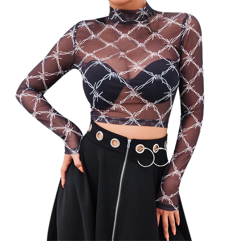 2019 Nova T-Shirt Da Forma Das Mulheres Preto Sexy Perspectiva Malha da Manta Xadrez Completo Curto Umbigo Top Strech Backing T-shirt harajuku # C