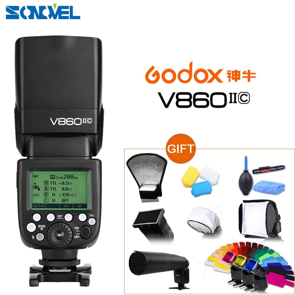 Godox V860II-C E-TTL الأحرار 1/8000S 2.4G اللاسلكية بطارية ليثيوم أيون فلاش Speedlite Speedlight لكانون EOS كاميرا DSLR