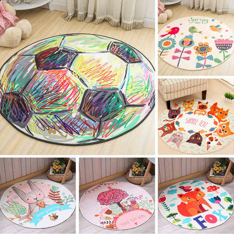 Round cartoon carpet non-slip children's carpet boy and girl game pad computer chair floor mat family children room rugs tapete