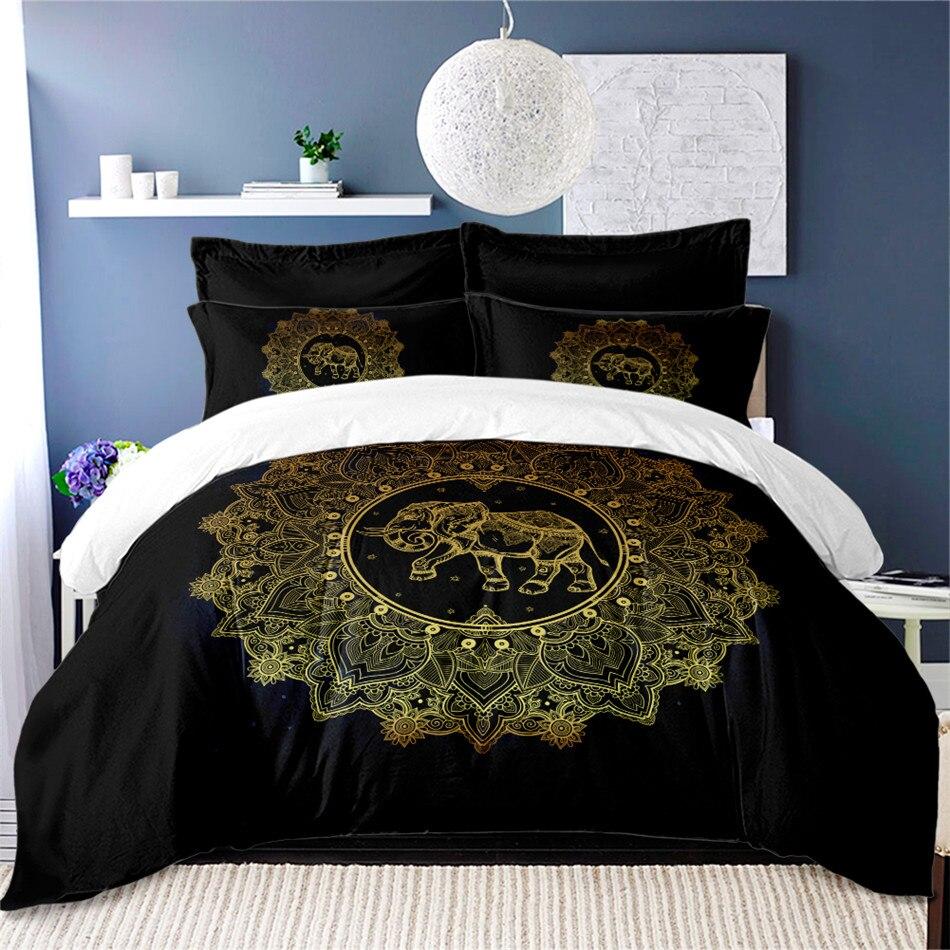 Juego de cama de elefante indio mándala Bohemia edredón estampado doble ropa de cama tamaño king Cover ropa de cama negra