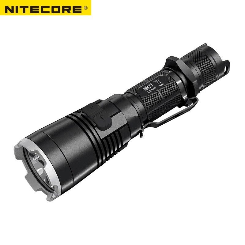 Nueva linterna LED Nitecore MH27 CREE XP-L HI V3, 1000LM, LED RGB, antorcha de alto brillo, resistente al agua, envío gratuito