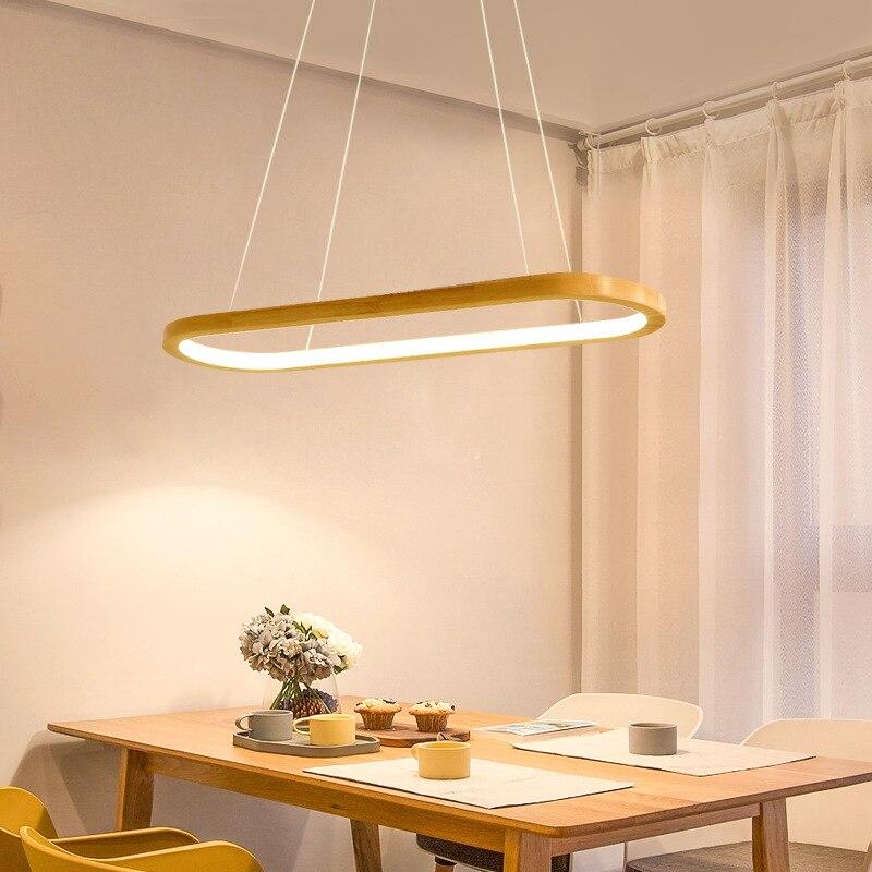 Lámpara colgante de madera maciza de estilo nórdico de LukLoy, lámpara colgante Simple postmoderna para comedor o cocina