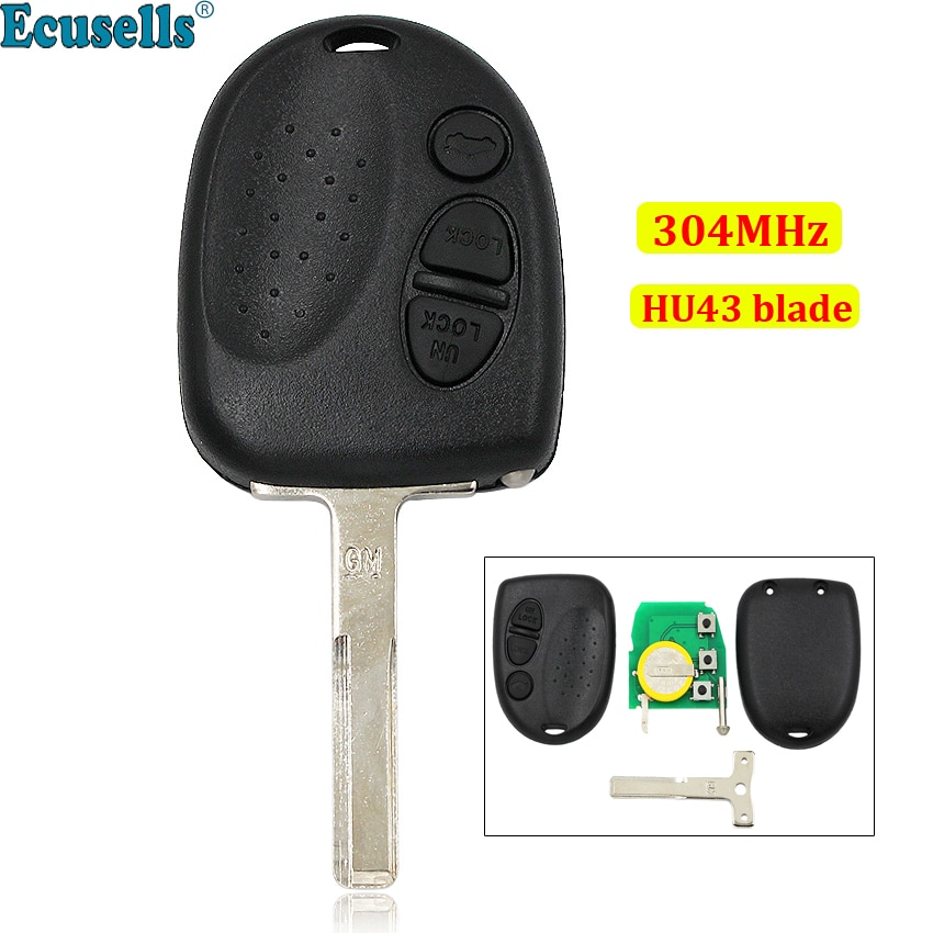 Chave remota 3 botão remoto para holden commodore vs vt vx vy vz 304 mhz sem corte hu43 lâmina