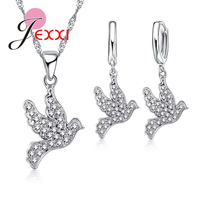Feminino interessante animal austríaco cristal conjuntos de jóias 925 prata esterlina corrente pássaro design colar + brincos