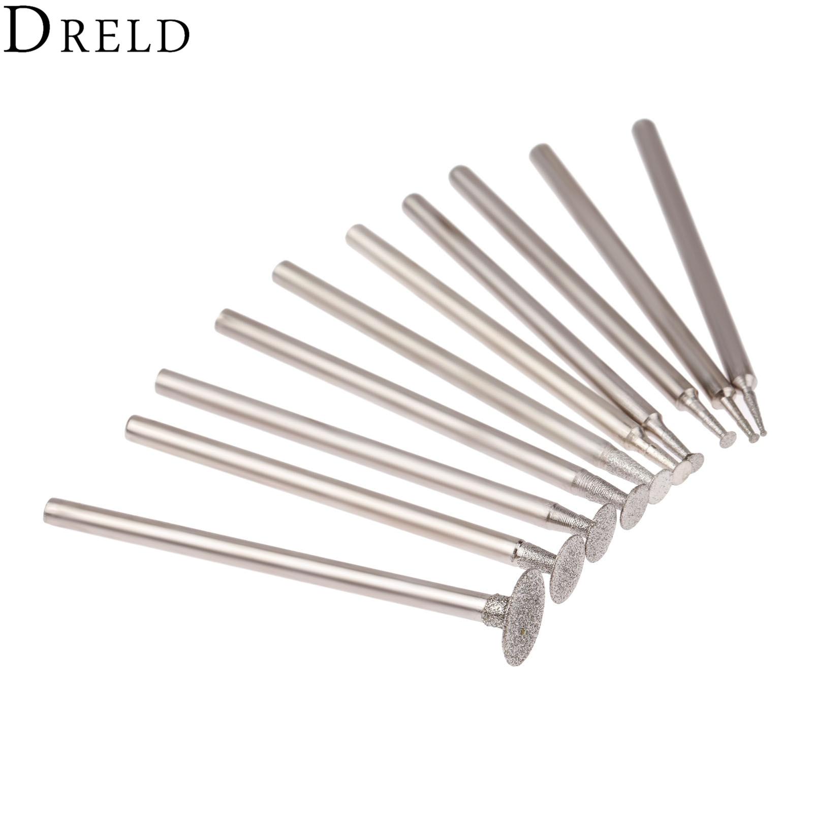 """10 vnt. """"Dremel"""" aksesuarai 2,35 mm koto deimantais pritvirtinti šlifavimo galvutės akmens nefrito drožimo poliravimo graviravimo įrankiai"""