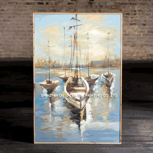 New Arrive Sailing Scenery Hand Painted Modern Knife Landscape Painting On Canvas Seascape Pictures Wall Decoration Art