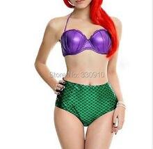 Sexy High Waist Ariel Mermaid Cosplay Push Up Bikini Set Emerald Green Fish Scales Swimsuit Plus Size maillot de bain