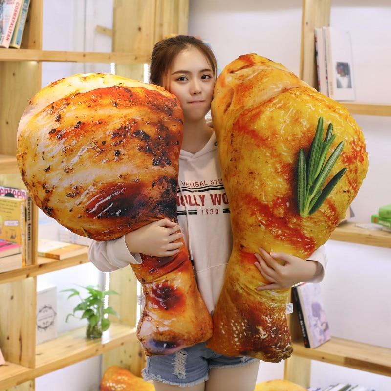 لعبة قطيفة كبيرة الحجم 90 سنتيمتر للأطفال ، وسادة على شكل ساق دجاج ، ديكور دمية ، هدية عيد الميلاد المثالية للأطفال