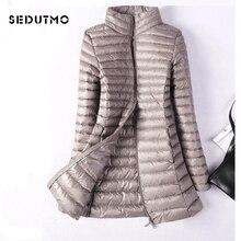 SEDUTMO Winter Plus Größe 4XL Frauen Unten Jacken Ultra Licht Ente Unten Mantel Lange Puffer Jacke Schlank Schwarz Parkas ED037