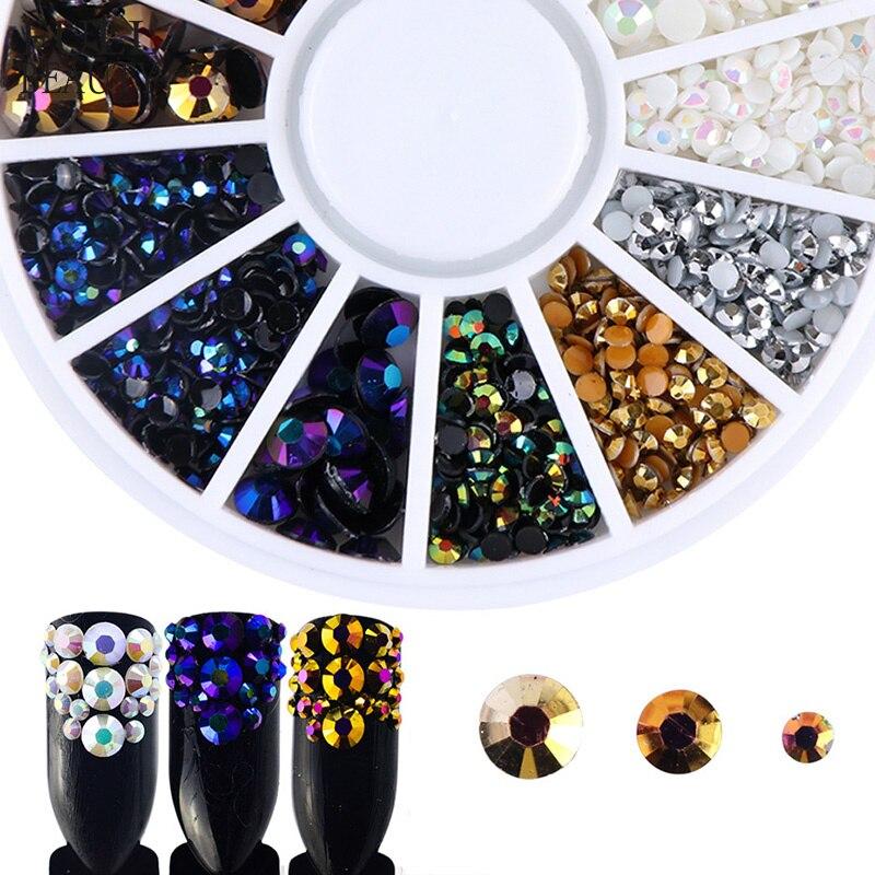 Beleza completo 3D Chama Shimmer Pedrinhas Decoração de Unhas em Uma Roda 5 Cor Natator DIY Contas Encantos Prego Gems CH016-1
