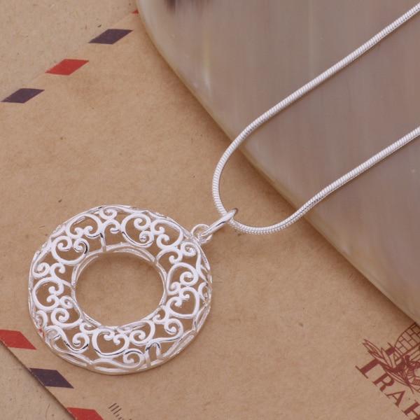 An088 colar esterlina quente moda jóias pingente oco para fora anulus/gfoaowva akcajbja prata cor