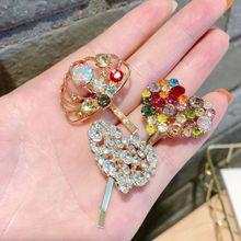 Koreanische Frauen Herz Muschel Legierung Haar Stick Pin Candy Bunte Strass Pferdeschwanz Halter Haarnadel Student Haar Zubehör Clip