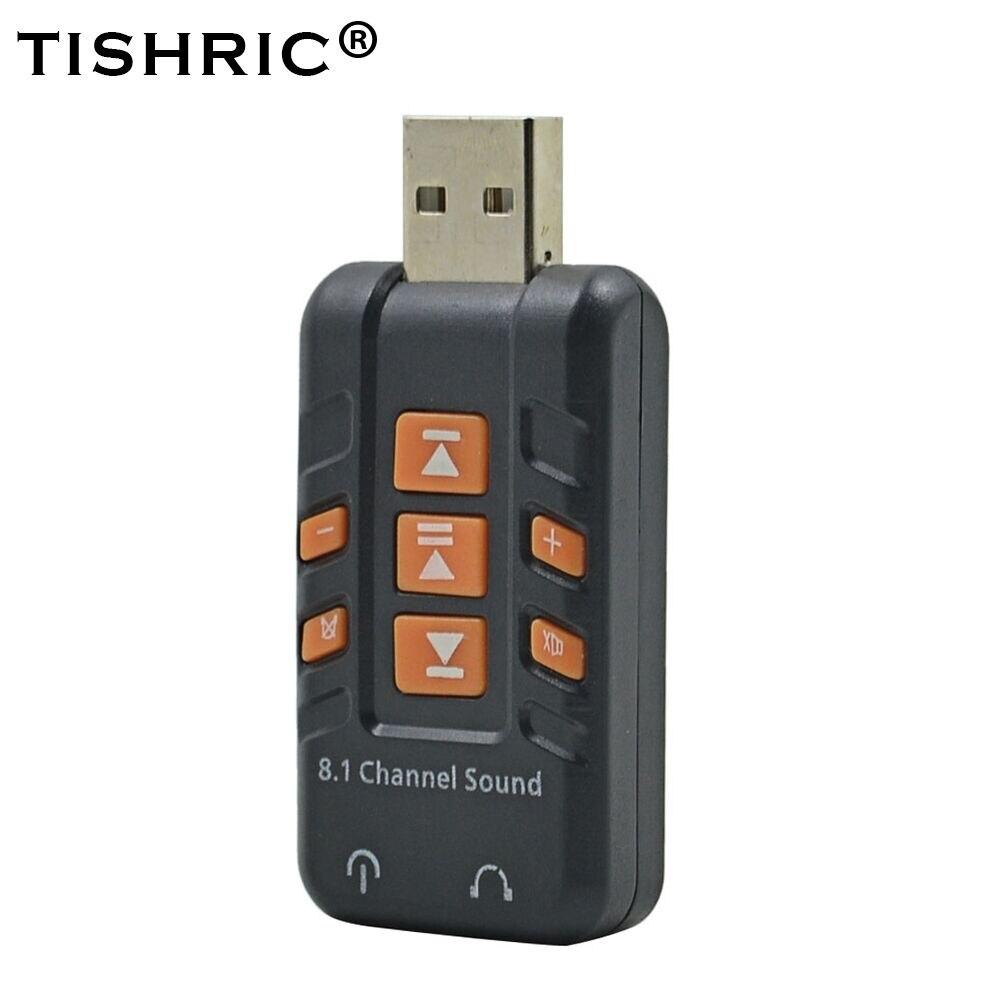 Adaptador de áudio externo usb da placa de som de tishric 2.0 a 3.5mm jack amplifer estéreo 8.1 virtual para mac/windows/xp/vista/linux
