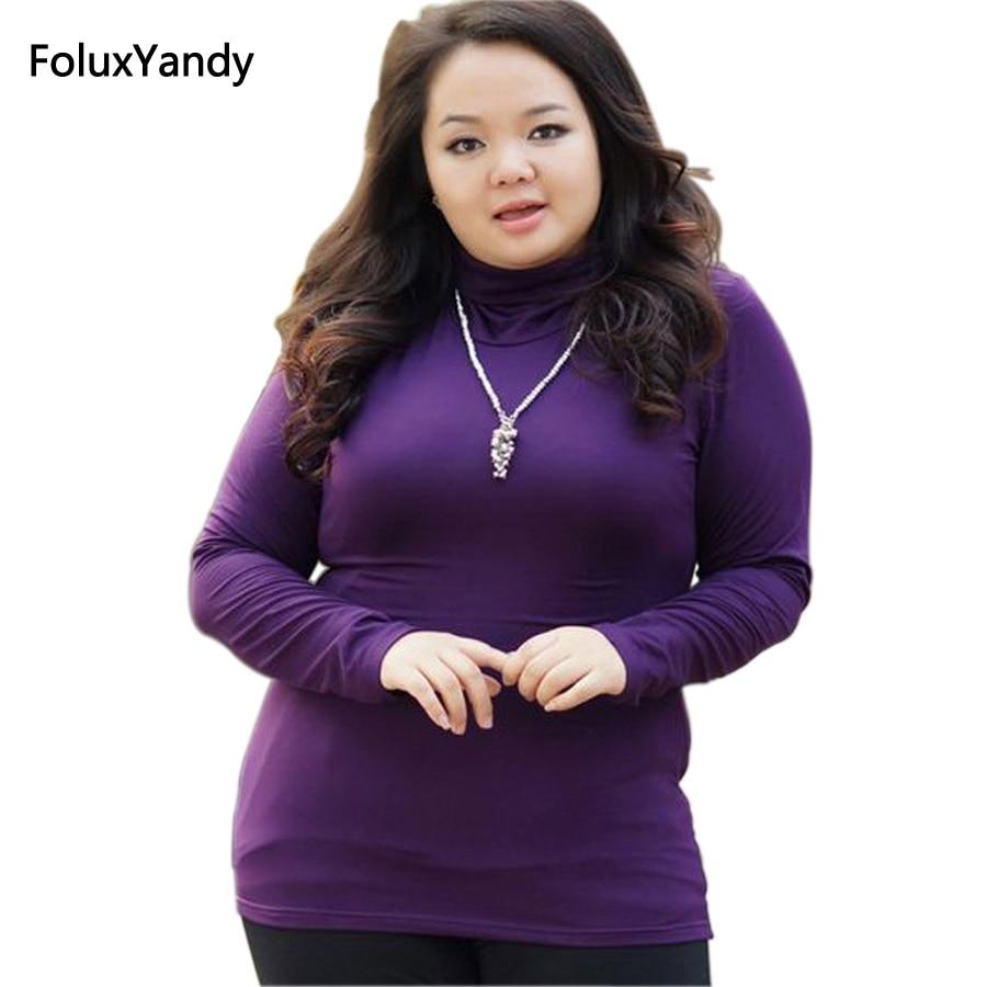 Весна-осень, стильные женские футболки с высоким воротником, размера плюс 3, 4, 5 XL, Брендовые повседневные футболки с длинным рукавом, FH261