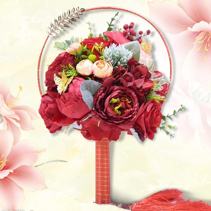 Único nuevo tipo de ventilador Wdding flor broche joyas Bouquet de novia de cristal rojo rosas de seda para boda de bibliotecas y Ramo de la boda