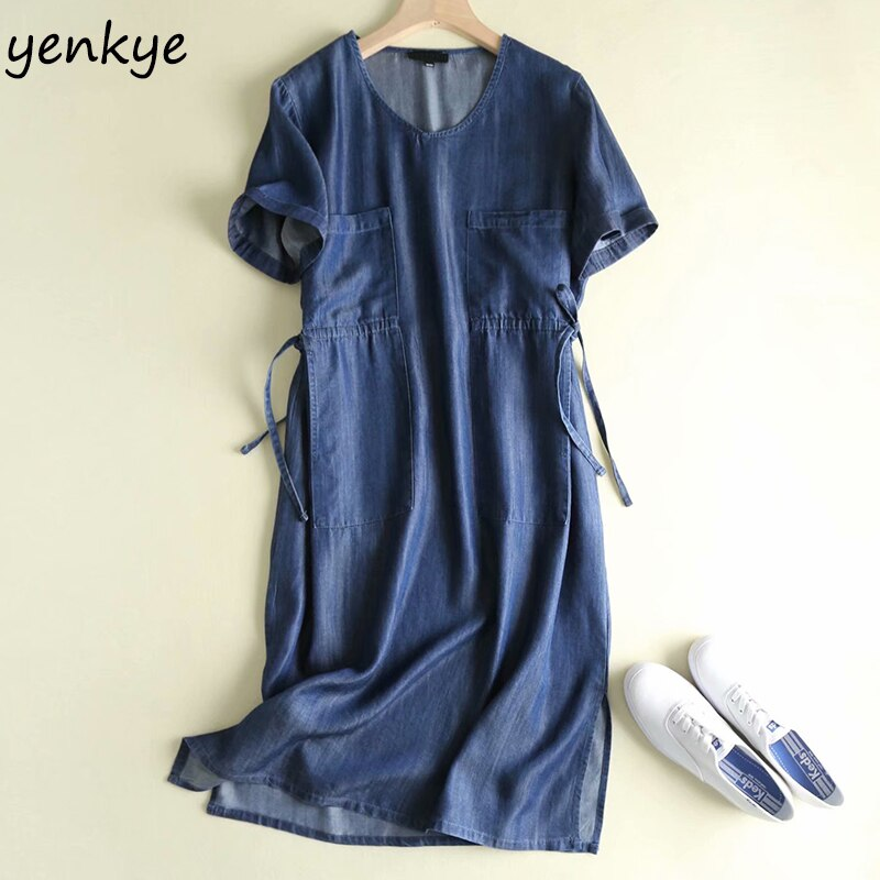 Vestido de verão 2019 das mulheres do vintage azul denim vestido senhora v pescoço manga curta cordão cintura casual plus size vestido