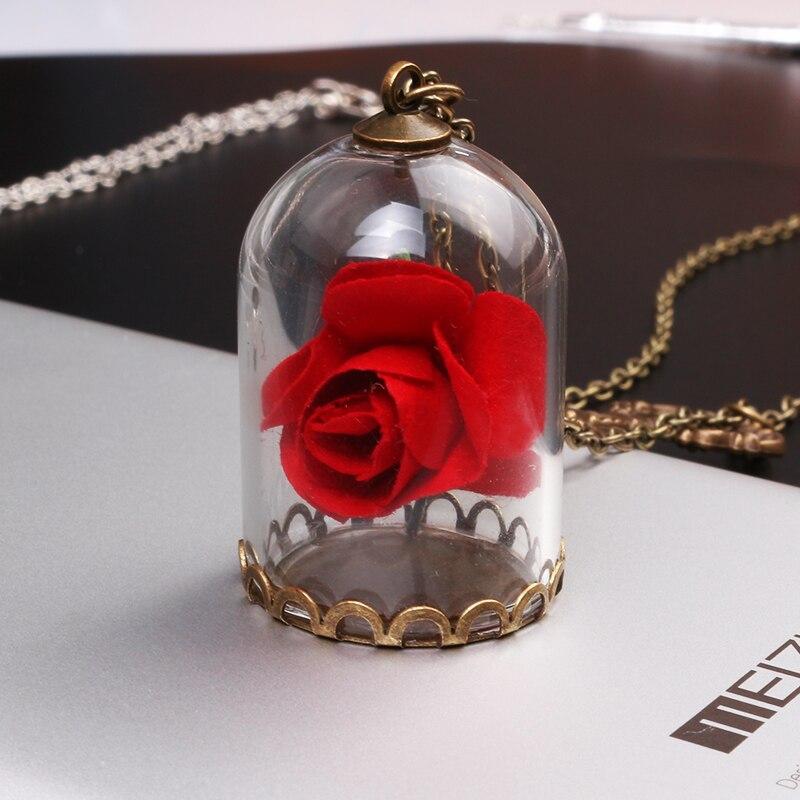 Joyería de moda collar rojo rosa encantada en terrario colgante para mujer joyería
