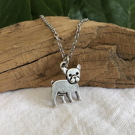COLLAR COLGANTE de BullDog Francés vintage para mujer, joyería de perro Toro, collar de regalo para mascota de moda