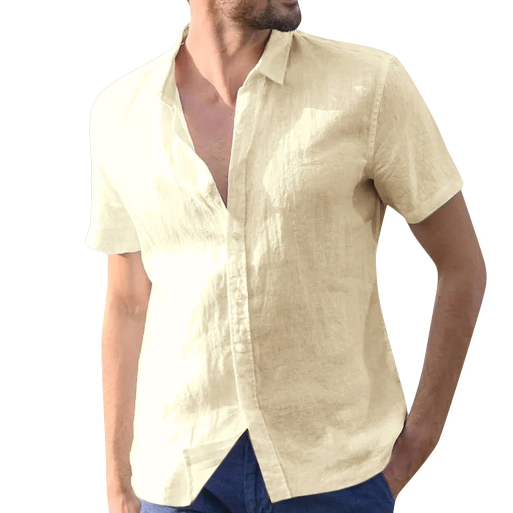 JAYCOSIN camisas casuales de verano de camisas de lino de los hombres pantalones de fitness corto manga botón Retro modis camisas de playa 426
