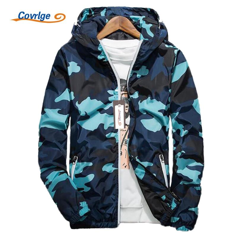 Chaqueta Covrlge para hombre, moda Primavera 2019, chaquetas de camuflaje de marca para hombre, abrigo informal para hombre con capucha, abrigos luminosos con cremallera MWJ011