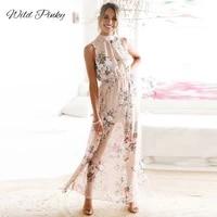 wildpinky 2020 new boho print long party dress women sexy halter tank beach maxi dress summer sleeveless split sundress vestidos