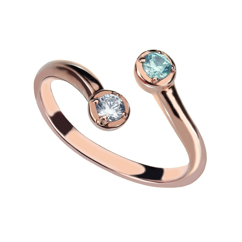 AILIN شخصية لون الذهب الوردي المزدوج جوهرة خاتم الأمهات خاتم تكويم اثنين جوهرة خاتم الأزواج مجوهرات