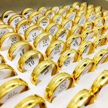 الجملة السائبة الكثير 12 قطعة/الحزمة اللون الذهبي للرجال المرأة مجوهرات من صلب لا يصدأ خواتم الزفاف المشاركة مجموعة