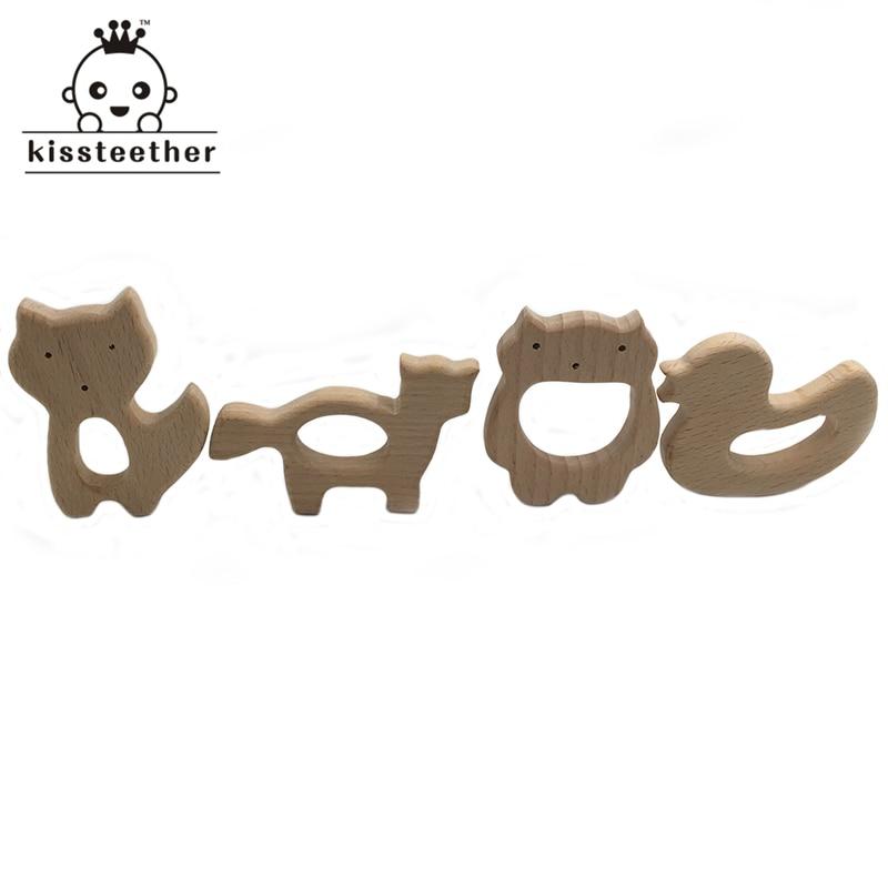 DIY juguetes mordedor para bebé, mordedor orgánico Natural de madera, zorro, Lobo, Vikingo, Pato Mandarín, juguete cortado a mano, mordedor de madera para bebé, regalo