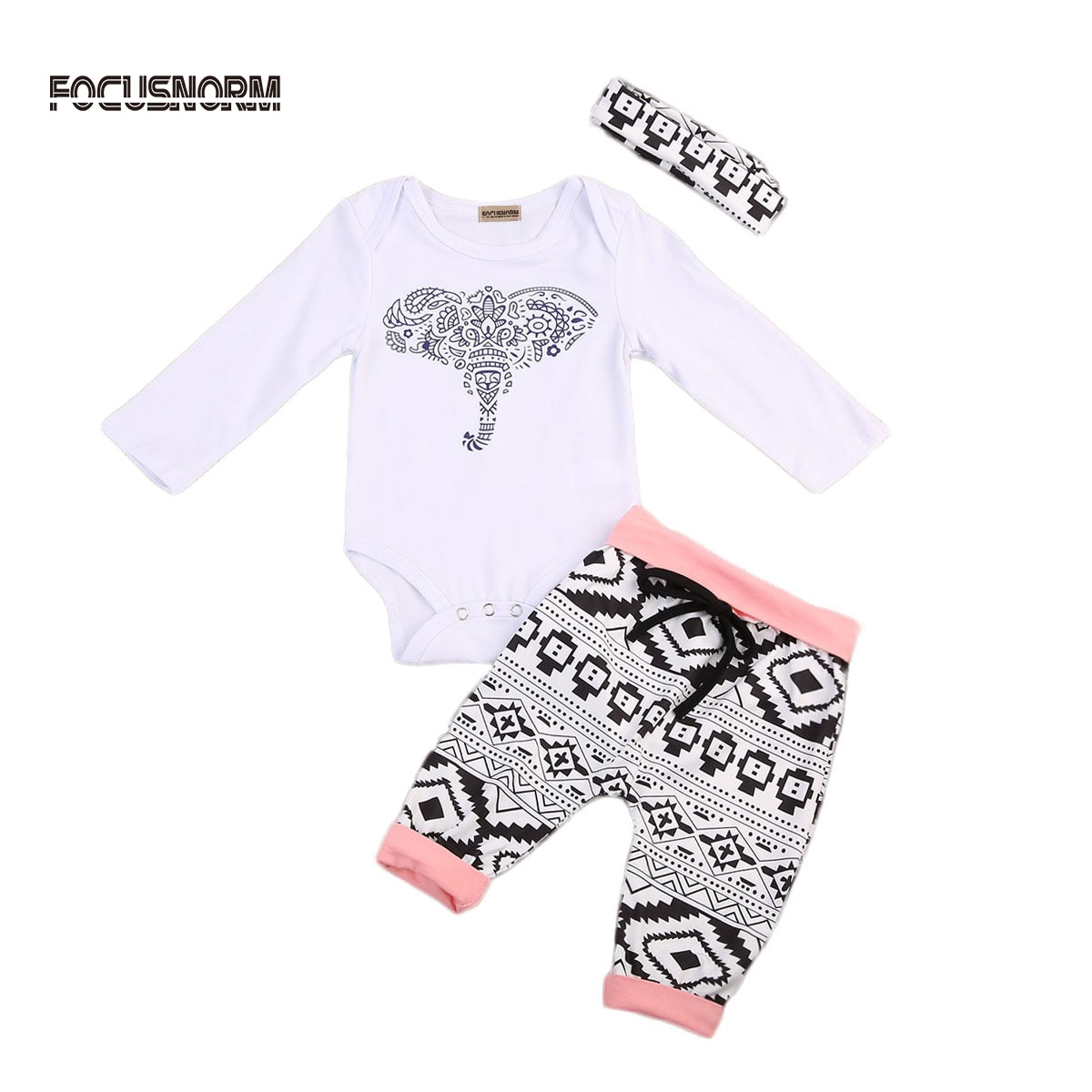 Ropa para niñas pequeñas, Pelele de elefante + Pantalones largos + diadema, traje de 3 uds., conjunto de Ropa de bebé niña, conjuntos de Ropa, Ropa para bebés