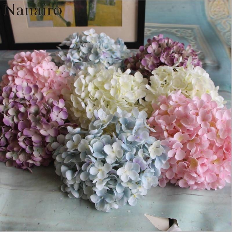 Boule de fleurs hortensia artificielle 176 pétales   Fleur bricolage bon marché, accessoire dhortensia en soie pour décoration de mariage à domicile, fausses Flores