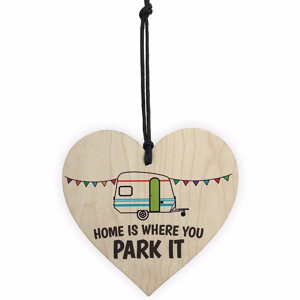Meijiafei Home Is Where You Park It, novedad, placa colgante de madera en forma de corazón para caravana