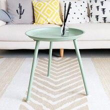 Créative petite table ronde colorée contracte table basse salon canapé côté nordique en fer forgé table basse en gros 45*50cm