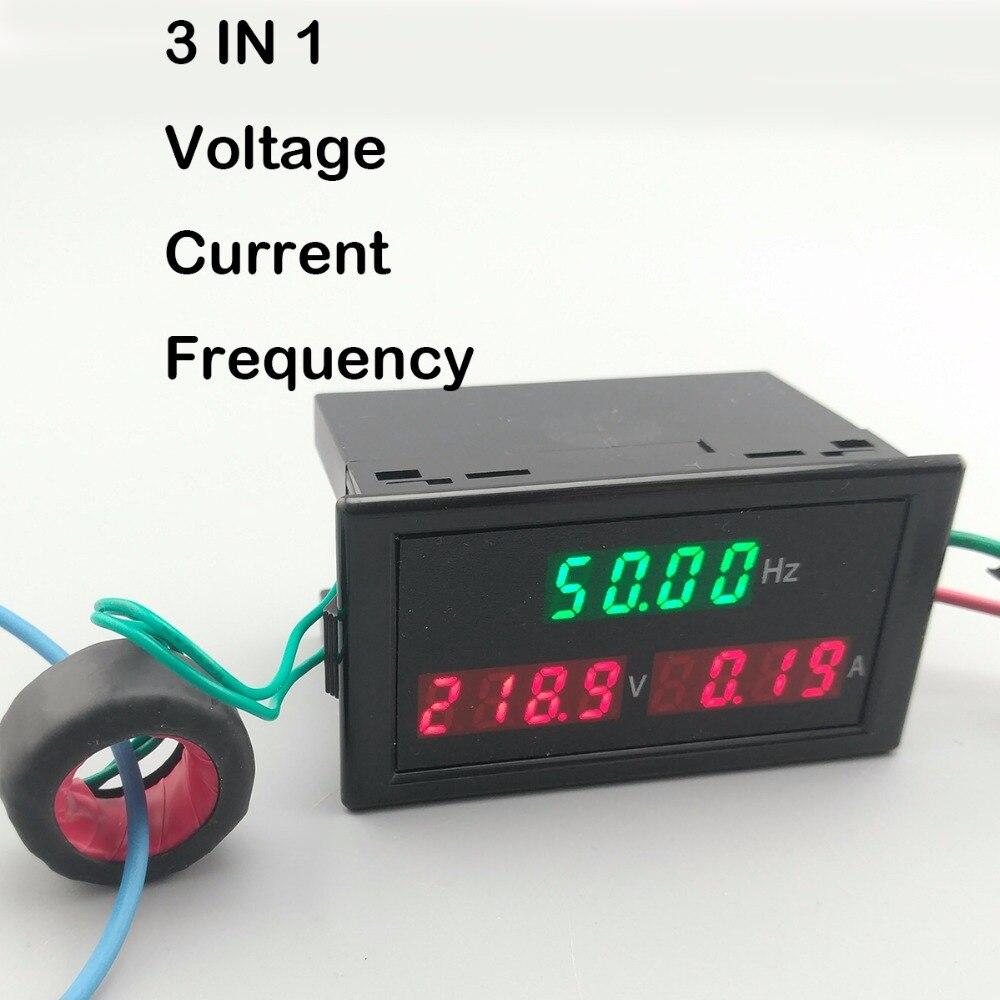 Medidor de panel de visualización LED 3 en 1 con voltímetro amperímetro voltaje Frecuencia de corriente 80-300V 200-450V 100A