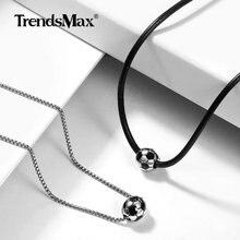 Trendsmax Football pendentif collier à breloques en acier inoxydable Football Sport collier ras du cou pour hommes femmes accessoires mode DNM21