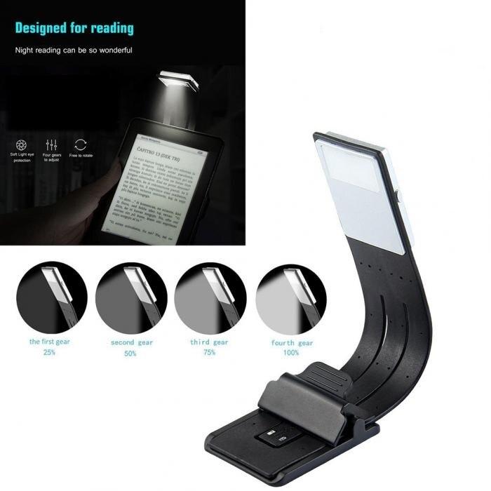 Adecuado para e-reader portátil creativo plegable Lámpara de lectura LED con clip flexible extraíble cargador USB lámpara de escritorio