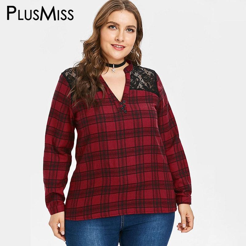 PlusMiss talla grande otoño 2018 encaje a cuadros cuello en V blusa camisa mujer XXXXL XXXL XXL manga larga suelta Plaid Tops 5XL de gran tamaño