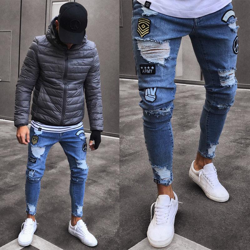 Pantalones vaqueros rasgados con estilo para hombre, pantalones vaqueros deshilachados rectos ajustados de motorista, nueva ropa de moda para hombres