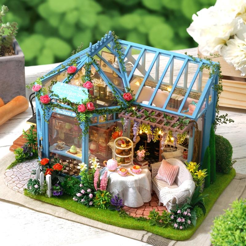 Bonito salón Diy Hut Rose Garden Casa de Té Manual hacer arquitectura modelo Woodiness Villa original regalo
