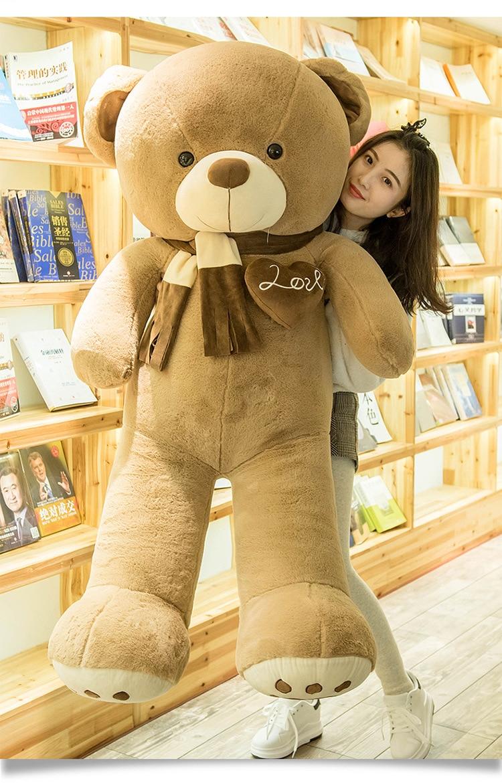 Brinquedo de pelúcia enorme boneca 160 cm cachecol urso de pelúcia, urso marrom macio boneca abraços travesseiro, presente de aniversário s2811