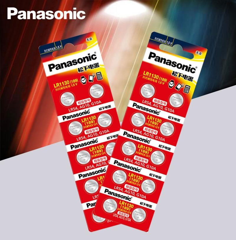 20 Uds Panasonic batería 1,5 V AG10 LR1130 pila de botón alcalina AG10 389 LR54 SR54 SR1130W 189 LR1130 pilas de botón