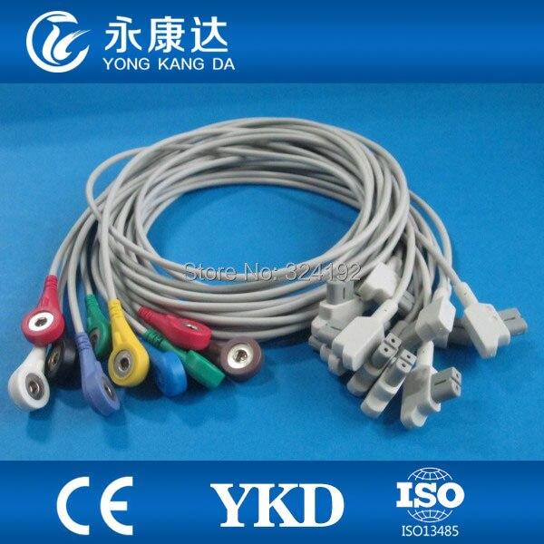 Compatível para Trim II One-piece nenhuma resistência cabo de ECG com a NORMA IEC, Snap