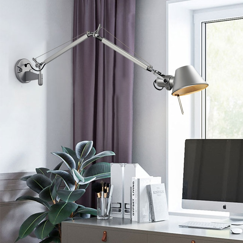 Artpad American Modern Swing Long Arm LED Flexible Wall Lights AC90-260V Silver/Black Eye Protection Bedroom Bedside Lamp