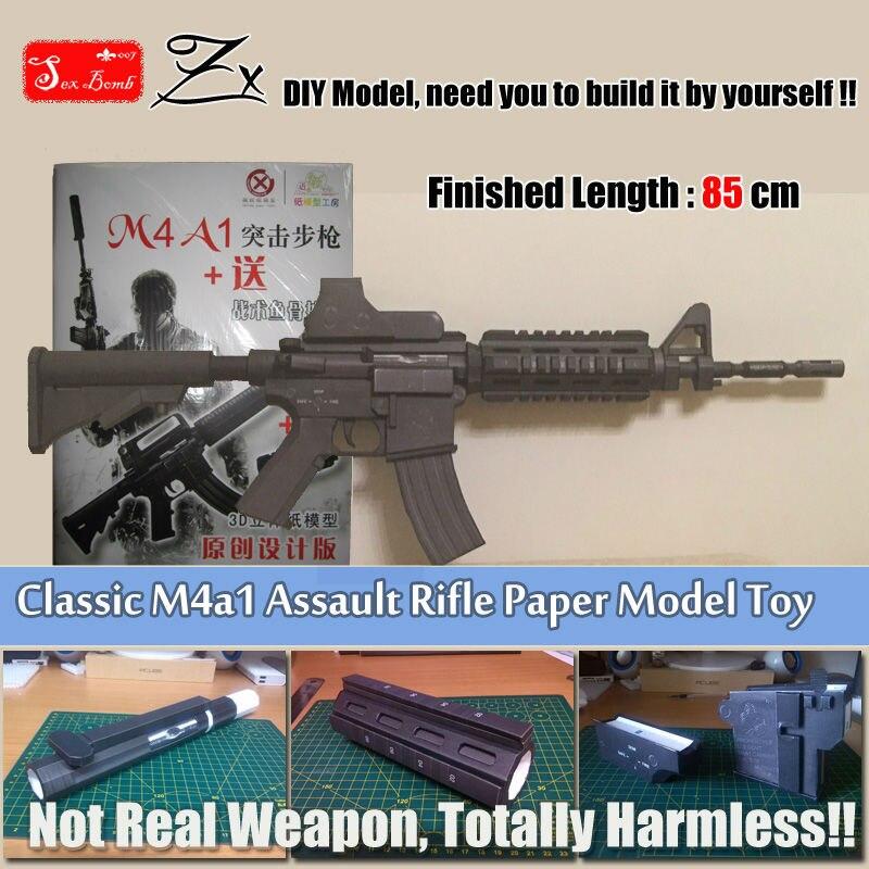 Nuevo clásico SWAT M4A1 rifle carabina modelo dibujar páginas escala 3D modelo de papel de chico de los adultos Cosplay arma juguete apoyos hecho a mano Juguetes