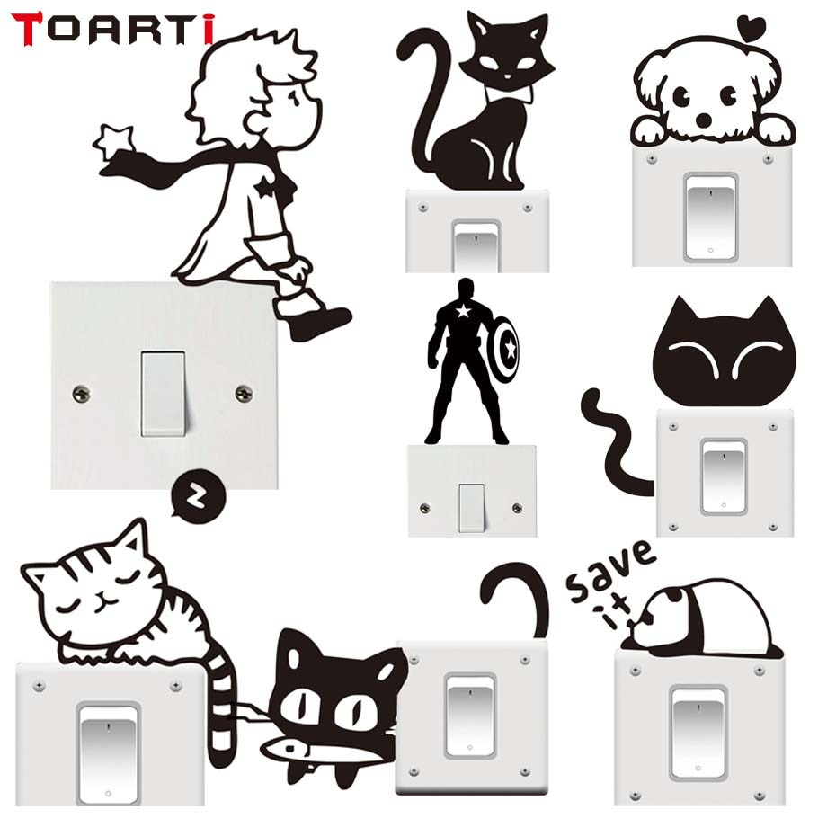 Мультяшные наклейки с изображением кота, принца, Мультяшные виниловые наклейки на стену для детской комнаты, фотообои для домашнего декора,...